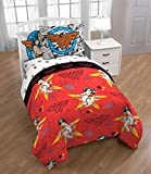 Ln 5 Piece Kids Red Yellow Wonder Woman Comforter Twin Set, Blue Star Of Justice Bedding Girls Superhero Themed Princess Diana Animated Movie Character Prints Colorful Marvel Comic Cartoon, Polyester
