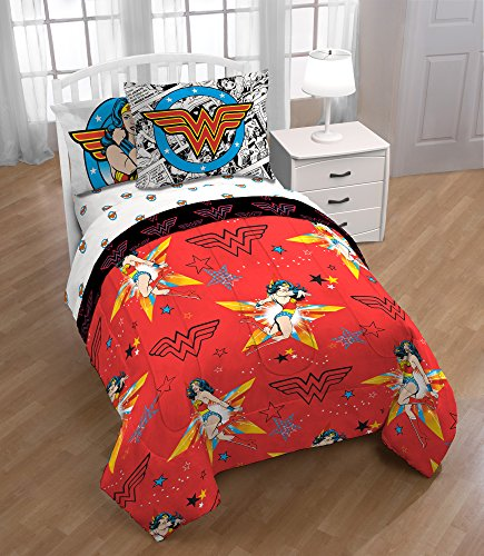 Ln 5 Piece Kids Red Yellow Wonder Woman Comforter Twin Set, Blue Star Of Justice Bedding Girls Superhero Themed Princess Diana Animated Movie Character Prints Colorful Marvel Comic Cartoon, Polyester by Ln