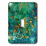 3dRose (1) Single Toggle Switch (lsp_269023_1) Luxury Light Malachite Ombre Gem Marble Glitter Metallic Faux Print