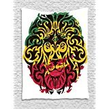 Rasta Tapestry by Ambesonne, African Ethiopian Culture Wild Lion Head Grunge Style Flag Colors, Wall Hanging for Bedroom Living Room Dorm, 40 W X 60 L Inches, Brown Marigold Pink and Green