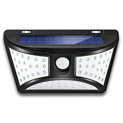 Outdoor Solar Motion Sensor Wall Light 1 Pack, 68 LED IP65 Waterproof Wireless Night Security Light with 270° Wide Illumination Angle for Front Door, Yard, Garage, Garden, Stairs, Pathway