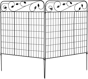 "S AFSTAR Decorative Garden Fence, Outdoor Rustproof Flower Bed Fencing, Metal Folding Wire Border, 52"" x 36"" (2 Pieces)"