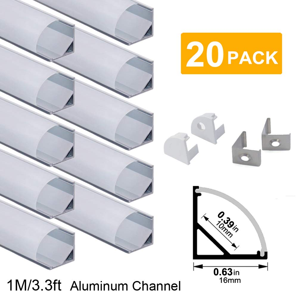 hunhun 20-Pack 3.3ft/1Meter V Shape LED Aluminum Channel System with Milky Cover, End Caps and Mounting Clips, Aluminum Profile for LED Strip Light Installations, Very Easy Installation by hunhun