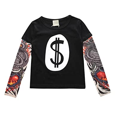 MEIHAOWEI Cool Baby Boys Girls T Shirts Tattoo Sleeve Cotton Tops Tees