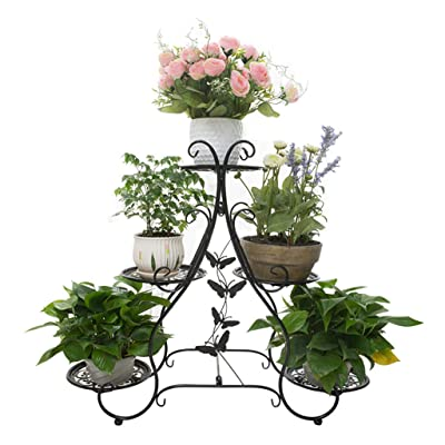 YJXJJD Flower Stand Metal Flower Stand Multi-Layer Plant Flower Display Stand Indoor and Outdoor (Color : A): Garden & Outdoor