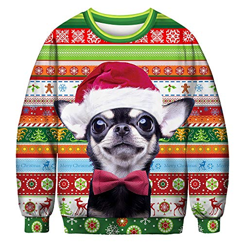 JomeDesign Unisex Ugly Christmas Sweater 3D Digital Printed Graphic Sweatshirt Pullover Christmas -