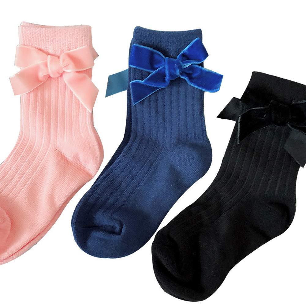 for 0-2 years baby Beige Durable Baby Girls Lovely Bowknot Socks Cute Princess with Vertical Striped