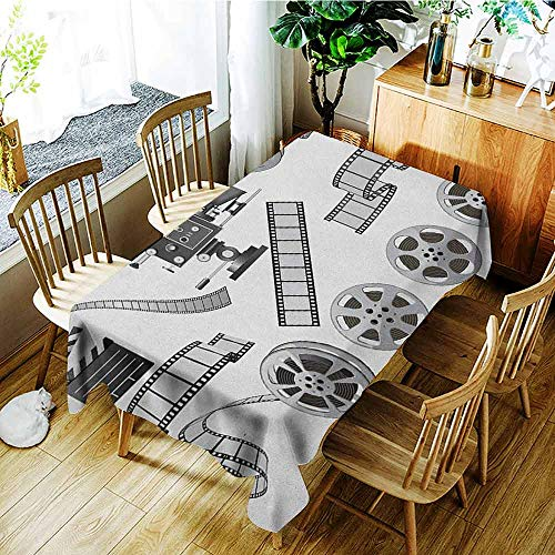AndyTours Tablecloth for Kids/Childrens,Movie Theater,Table Cover for Kitchen Dinning Tabletop Decoratio,W60X102L Grey Black