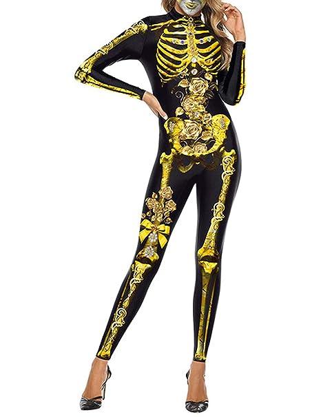 Disfraz de Esqueleto Mujer, Traje de Esqueleto Mujer Adulto ...