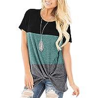 SAMPEEL Womens Plus Size Tops Short Sleeve Green Shirt Color Block Fashion Blouses XXL