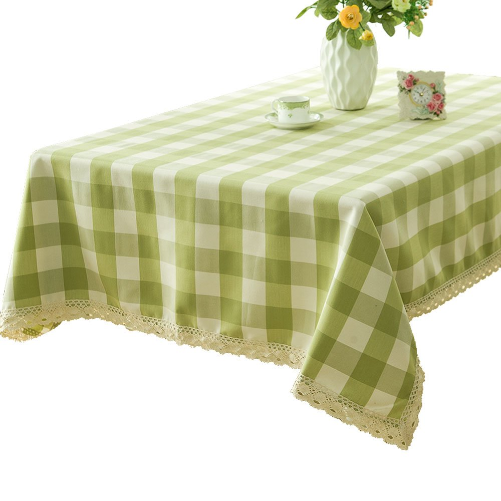 R.LANG Lattice Heavy Weight Fabric Tablecloth Oval 60 x 84-inch Spillproof Jacquard Tablecloth Light Green