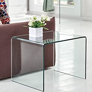 SMARTIK Clear Glass End Table, Bedside Table for Bedroom, Small Side Tables for Living Room, Sofa Nightstand Bent Modern Home Office Furniture (N Style 24.8x19.6x18.90 inch)