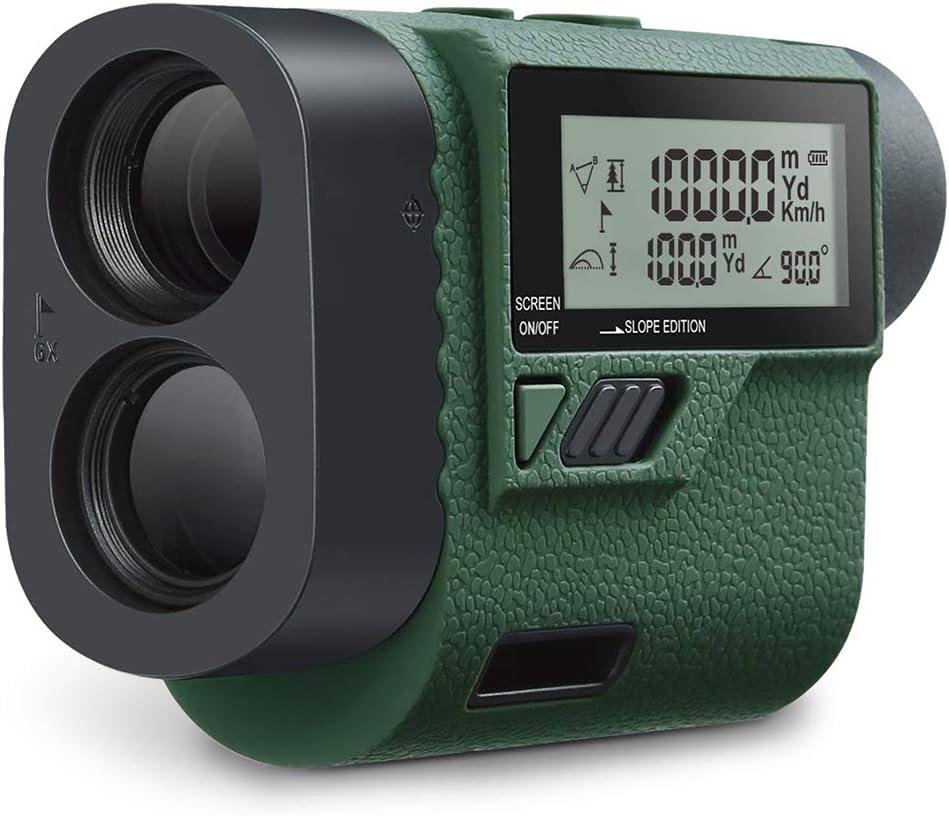 Huepar HLR1000 Pro Telémetro de golf 1100 yardas - 6X Buscador de alcance láser con trayectoria/Flagpole Bloquear/Distancia/Velocidad, caza, uso en exteriores/Distancia/Velocidad, Pantalla LCD externa