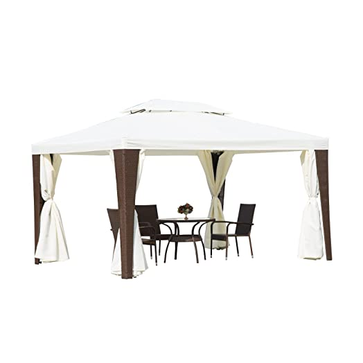 Outsunny Rattan Furniture 3m X 4m Metal Gazebo Marquee Party Tent Canopy Pavillion Patio Garden Shelter