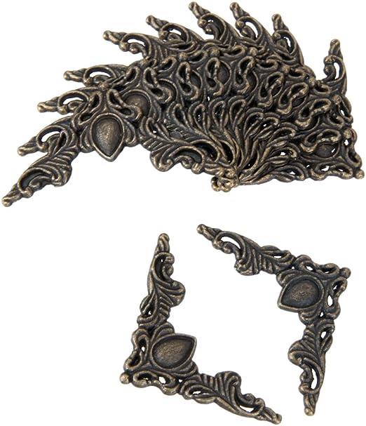 24 Piezas Esquina Bronce Antiguo Para Decorativo de Caja Protector de Cubierta Incluye 96 Clavos Bronce