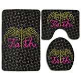 Faith Dragonfly Fashion Bath Mat Set 3 Piece Bathroom Mats Set Non-Slip Bathroom Rugs/Contour Mat/Toilet Cover