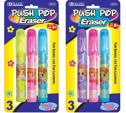 Bazic Products 2213-144 BAZIC Fancy Push-Pop Pencil Eraser - 3-Pack Case of 144 by Bazic