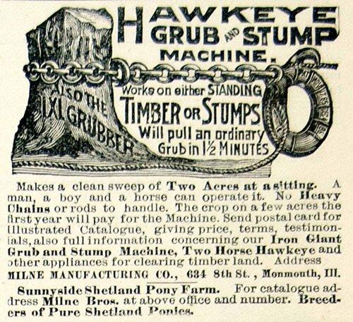 1895-ad-hawkeye-grub-stump-farm-machine-timber-milne-634-8th-st-monmouth-il-tree-original-print-ad
