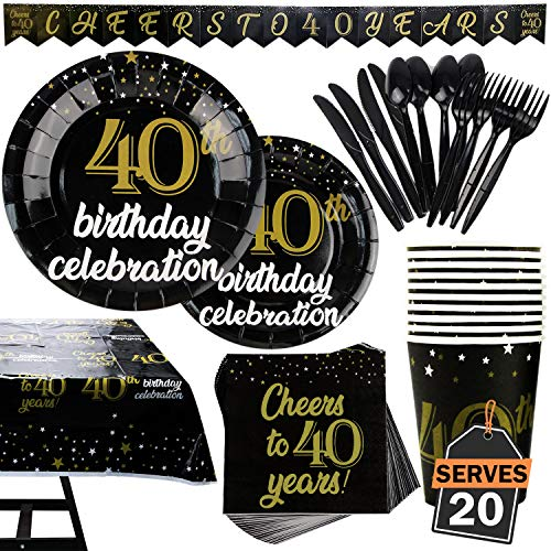 142 Piece 40th Birthday Party Supplies Set Including Banner, Plates, Cups, Napkins, Tablecloth, Spoon, Forks, and Knives, Serves -