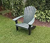 ASPEN TREE INTERIORS Fanback Adirondack Chair, Maintenance Free Poly Outdoor Patio Seating, Eco Friendly Recycled, 11 Designer Colors Choices with New Black Frame (Evergreen) For Sale