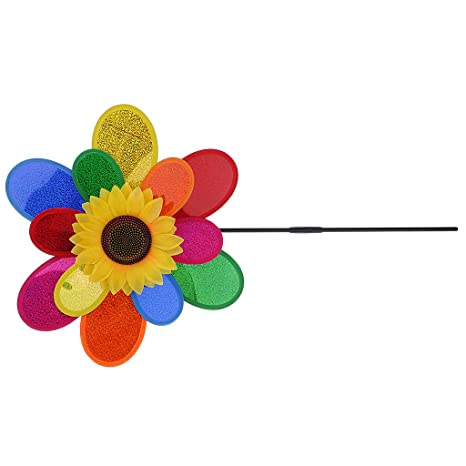 ShoppingLane DIY Double Layers Sequins Sunflower Windmill Wind Rotator Kids Outdoor Fun Camping Toy Nursery Venue D�cor