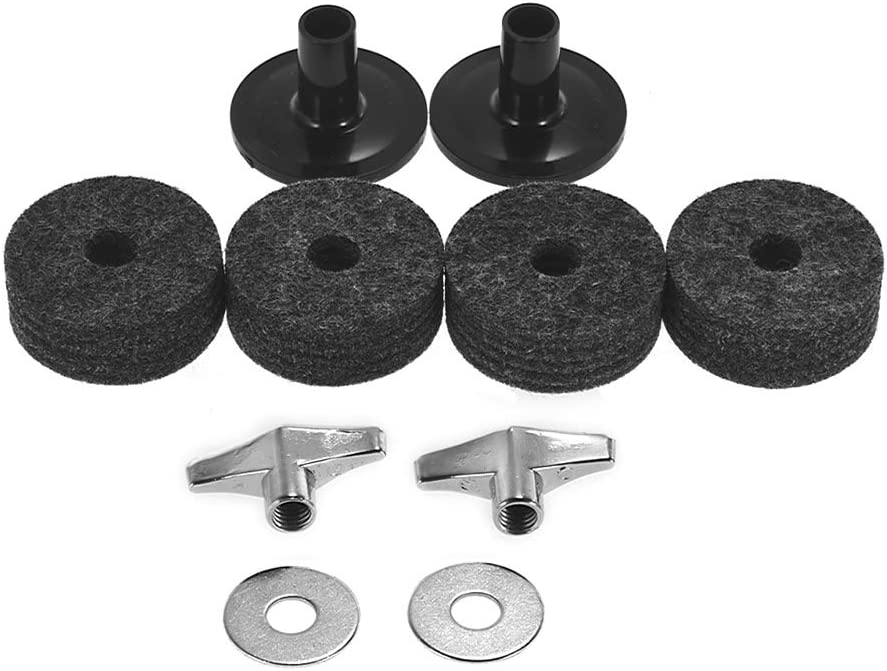 Muslady Pack of 10 PCS Drumset Kit Accessories Cymbal Stand Felts Hi-Hat Clutch Felts Hi Hat Cup Felts Cymbal Wing Nuts Cymbal Sleeves and Metal Gaskets Replacement Grey