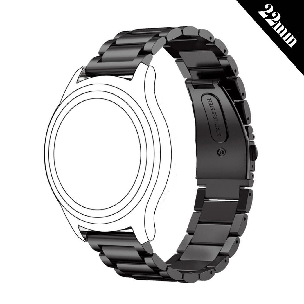 Antube 22mm Women Men Solid Stainless Steel Watch Band Replacement Bracelet Strap for Samsung Gear S3 Classic and Frontier, Huawei Watch 2 Classic, LG ...