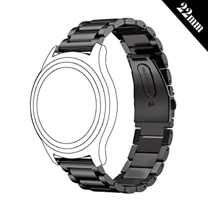 413d79e64b2 Antube 22mm Women Men Solid Stainless Steel Watch Band Replacement Bracelet  Strap for Samsung Gear S3