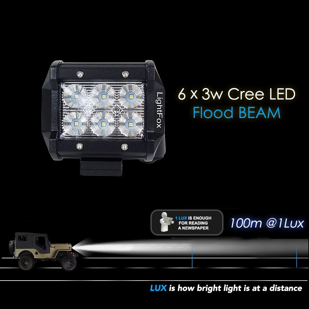 Lightfox 8pcs 18w 4inch Cree Flood Led Light Bar Details About Spot Work Driving Wiring Button On Off Pods Fog Waterproof Lights Road 4wd Truck Car Suv Atv Utv Jeep Pickup