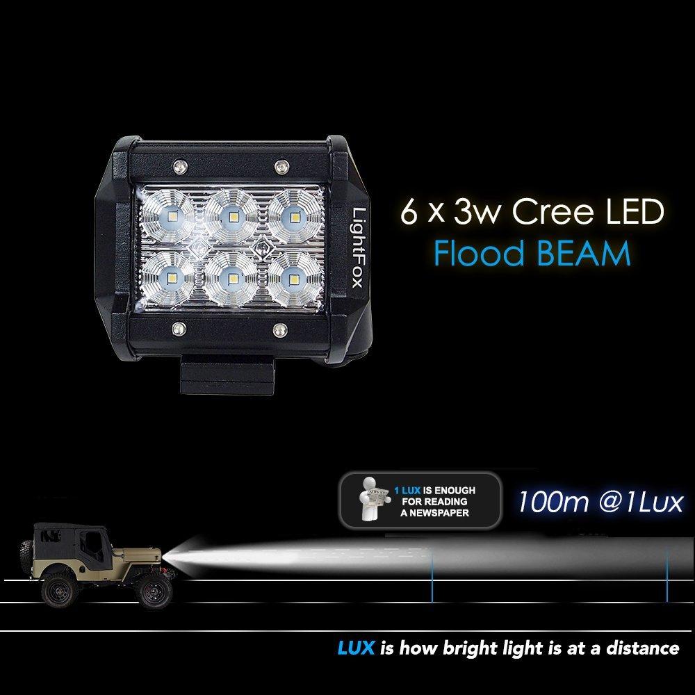Lightfox 8pcs 18w 4inch Cree Flood Led Light Bar Wiring Work Lights On Truck Pods Fog Waterproof Off Road 4wd Car Suv Atv Utv Jeep Pickup