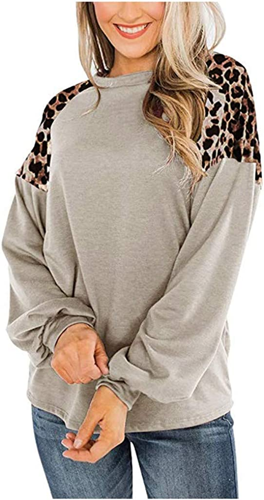 Pumsun Womens Winter Fashion Round Neck Long Sleeve T-Shirt Leopard Print Panel Pullover Top