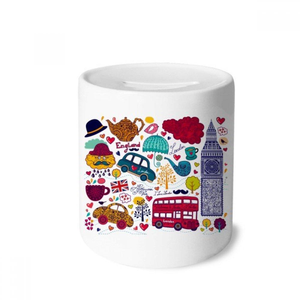 DIYthinker Torre Bus Reino Unido Inglaterra Big Ben Landmark Caja de Dinero de Las Cajas de ahorros de cerámica Adultos Moneda de la Caja para niños