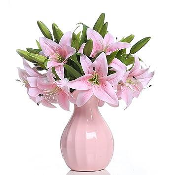 Amazon De Veryhome 5 Stuck Kunstliche Lilien Gefalschte Blumen Aus