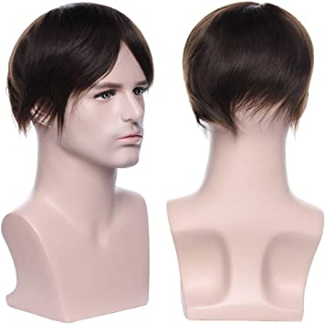Pelucas Hombre Pelo Natural Prótesis Capilar 100% Remy Cabello Humano [Base de Monofilamento+PU] 120% Densidad Peluquín Lisa Toupee 6