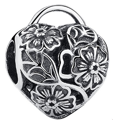 Chariot Trading - 925 Sterling Silver Floral Heart Padlock Charm