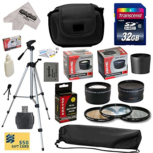 Ultimate Accessory Kit for Canon PowerShot G16 G15 Digital Camera Includes 32GB High-Speed SDHC Card + Card Reader + Opteka NB-10L 1800mAh Ultra High Capacity Li-ion Battery Pack + 58MM 0.43x HD2 Wide Angle Panoramic Macro Fisheye Lens + 58MM 2.2x HD2 AF Telephoto Lens + Tube Adapter + Deluxe Padded Carrying Case + Professional 54