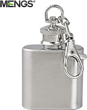 10X MENGS® 1 oz petaca con llavero para ocasiones especiales (bodas, deportes, golf), de acero inoxidable pulido, mini vodka whisky de la cadera del alcohol licor elask