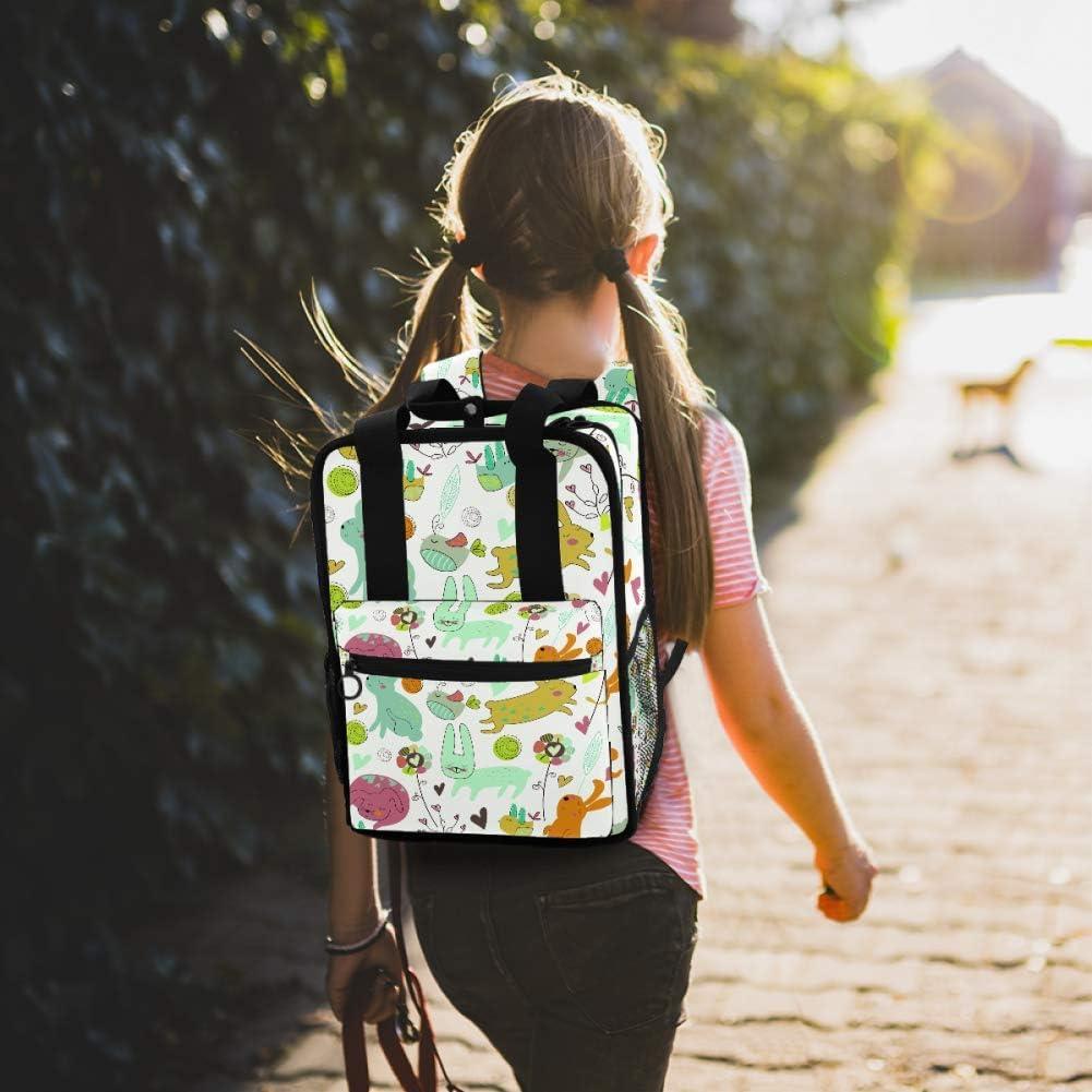 Bunnies Birds and Flowers in Cartoon Style Waterproof Laptop Backpack for 13in Laptop Men Women Student Travel Outdoor Backpack