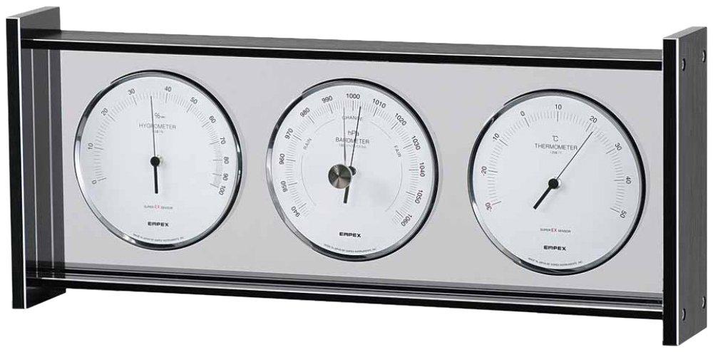 エンペックス気象計 温度湿度計 スーパーEXギャラリー気象計 温度 気圧 湿度表示 置き用 日本製 ブラック EX-796 B000YUOV92 ブラック ブラック