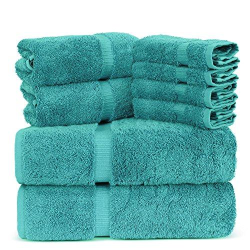 Towel Bazaar Luxury Hotel and Spa Quality 100% Premium Turkish Cotton 8 Pieces Eco-Friendly Kitchen and Bathroom Towel Set (2 x Bath Towels, 2 x Hand Towels, 4 x Wash Cloths, Aqua Blue)