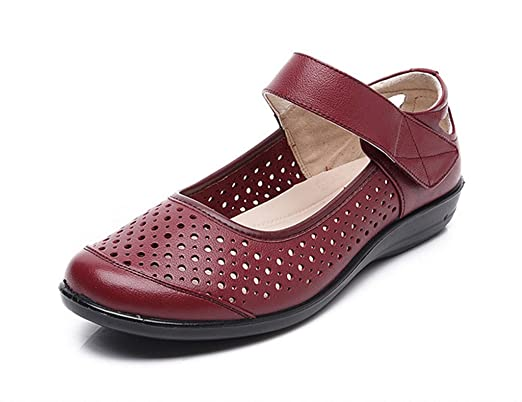 Amazon.com: Womens Shoes Summer Non-slip Soft Old People Sandals Flat Cool Middle-aged Elderly Mother Genuine Leather Female (Color : Wine red, ...