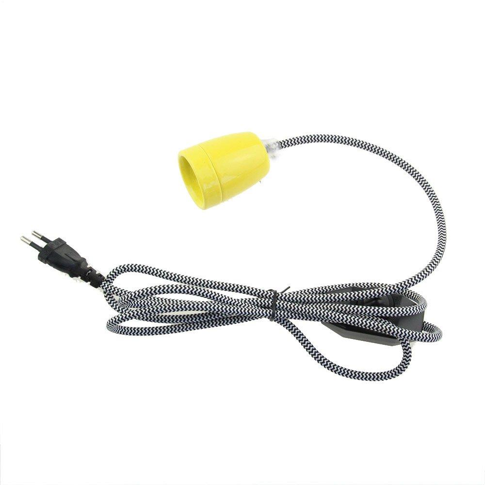 reachyea 2Meter (6.56ft) Classics Schwarz Weiß Stoff Kabel mit Dimmer Schalter E27Keramik Lampenfassung schwarz TM-G013-66/A