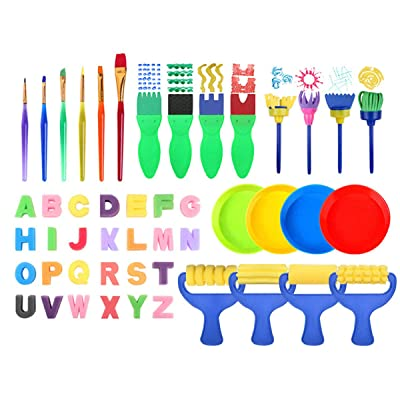 puseky Early Learning Kids Paint Set, 48 pcs Kids Sponge Paint Brushes Kit Watercolour Painting Tools for Child Early Painting: Toys & Games