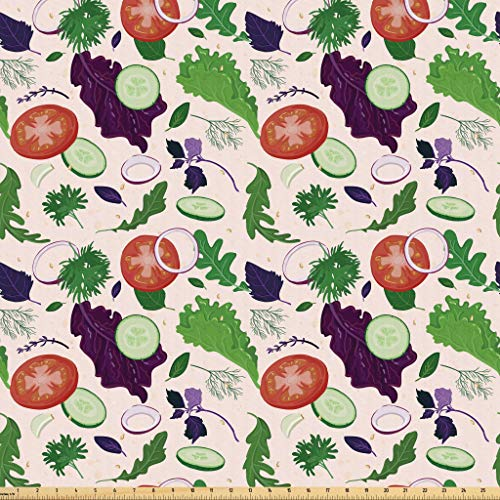 Microfiber Salad (Lunarable Vegetables Fabric by The Yard, Lettuce Dill Onion Parsley Herbs Salad Diet Organic Concept, Microfiber Fabric for Arts and Crafts Textiles & Decor, 3 Yards, Dark Purple Rose Fern Green Red)