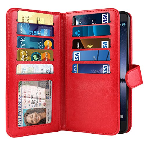 NEXTKIN Case Compatible with ZTE Zmax Pro Carry Z981, Leather Dual Wallet Folio TPU Cover, 2 Large Pockets Double Flap, Multi Card Slots Snap Button Strap for Zmax Pro Carry Z981 - Red (Zte Zmax Credit Card Phone Case)