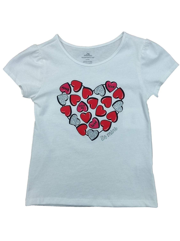 Valentine Toddler Girls White Be Mine Day T-Shirt Candy Heart Love Shirt 4T