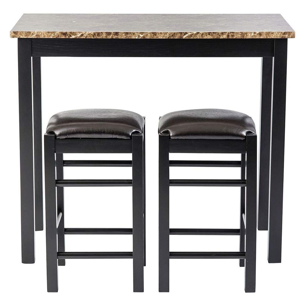 Pearington PEAR-3754 Remington High Top Counter Height Bar and Pub Table Set with 2 Chairs Dark Espresso