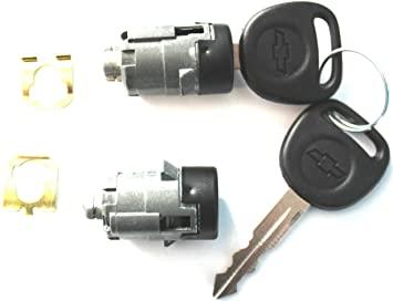 For Select Chevrolet Pair(2) Black Finish OEM Front Door Lock Cylinder set With