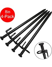 Tent Stakes Heavy Duty, BareFour 8-Inch Camping Stakes,4-Pack Forged Steel Tent Pegs Unbreakable and Inflexible - Available In Rocky Place Dessert Snowfield and Grassland