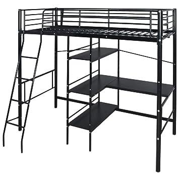 Cama alta de Festnight con escritorio y estantería de metal, para colchón de 200 x 90 cm, color blanco y marrón: Amazon.es: Hogar